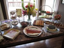 Smoked salmon from JJ's front at center at a baby shower